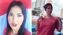 Maria Ozawa backing Indonesia in football clash with Singapore