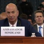 Sondland says Ukraine had to publicly announce investigations to receivecoveted White House meeting