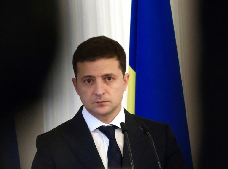 """Everyone in Ukraine is so tired of Burisma,"" said President of Ukraine Volodymyr Zelensky, pictured in October 2019 (AFP Photo/Gints Ivuskans)"