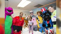 NFL Stars Visit Children's Hospital in Halloween Costumes