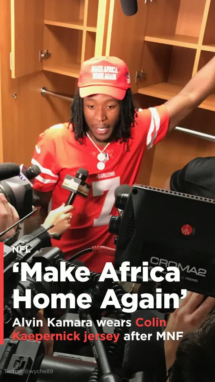f504c097c Alvin Kamara wears Colin Kaepernick jersey after beating Redskins  Video