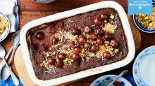Chocolate and Cherry self-saucing pudding with coconut and pistachios