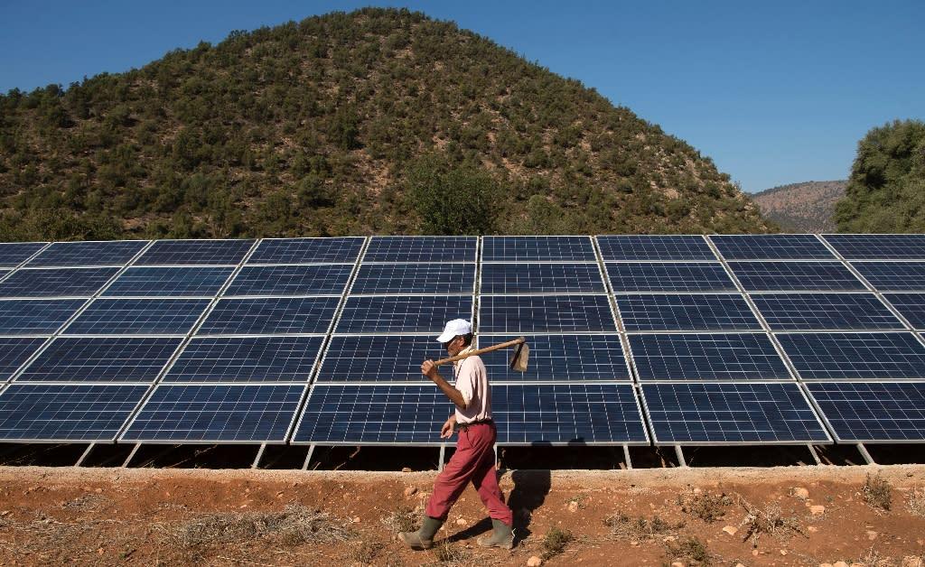 Solar panels in Tafoughalt, in Morocco's eastern Berkane province (AFP Photo/Fadel Senna)