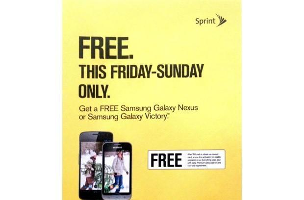 Sprint's leaked Black Friday ad touts free Galaxy Nexus and Galaxy Victory after $50 mail-in rebate (update)