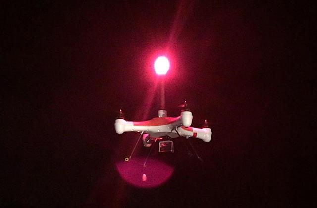 Splash Drone shrugs off water and launches rescue flares