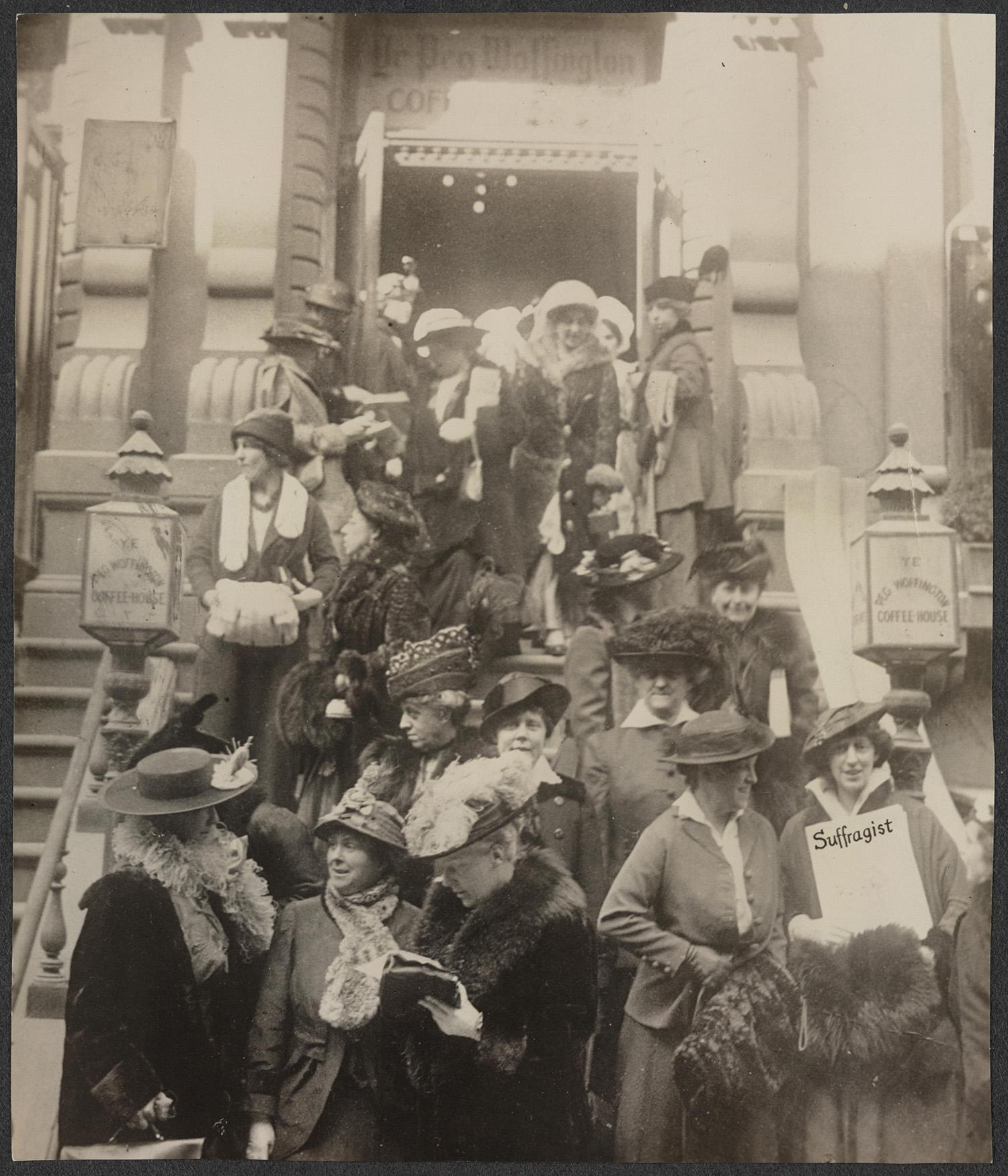 <p>Congressional Union for Woman Suffrage Advisory Council leaving the Peg Woffington Coffee House in New York in 1915. Left to right (front row): Elizabeth Colt, Elizabeth Kent, Mrs. John Rogers, Mrs. Olive Halladay Hasbrouck, Hazel MacKaye (far right, holds a copy of The Suffragist); (second row): Mrs. George A. Armes, Lucy Burns (center), Mrs. Oscar F. Davisson. (Records of the National Woman's Party/Library of Congress) </p>