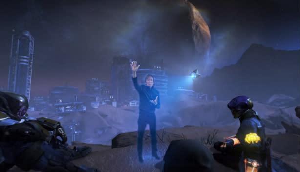 Paul McCartney, the hologram, in Destiny music video
