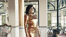 Dame Shirley Bassey poses in sequined gold face mask ahead of new album