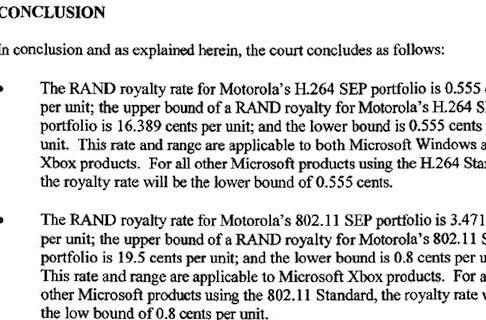 Washington court rules Motorola can get millions, not billions, from Microsoft for its patents