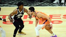 Devin Booker says he broke his nose in 3 places in collision with Patrick Beverley, wears mask in Game 3