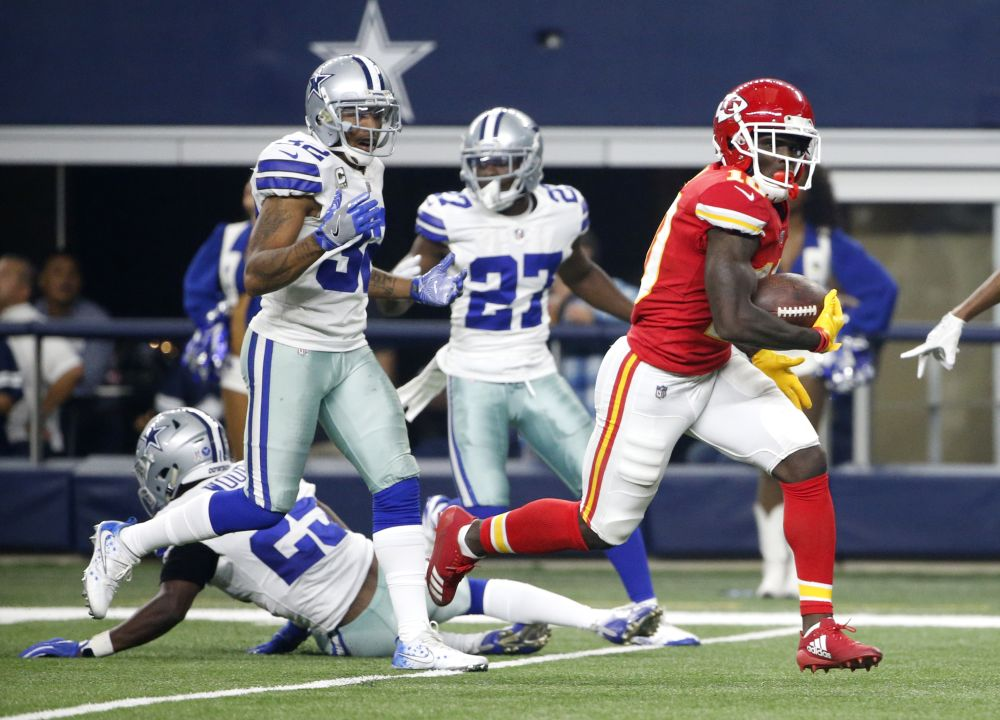 Kansas City Chiefs wide receiver Tyreek Hill showed off his speed on a great touchdown against the Cowboys. (AP)