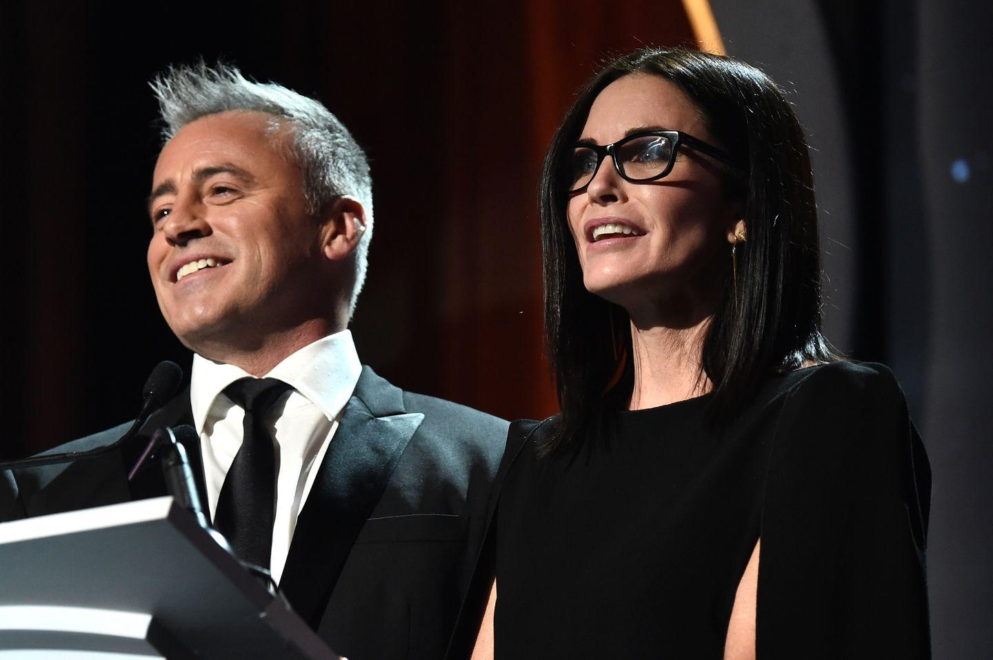 <p>Matt and Courtney Cox present onstage at the Writers Guild Awards in LA.</p>