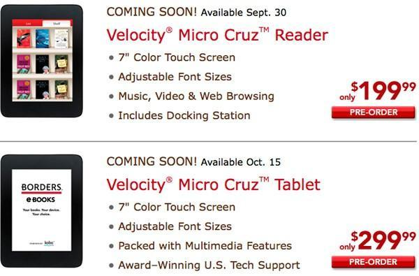 Velocity Micro Cruz Reader and Tablet up for pre-order at Borders