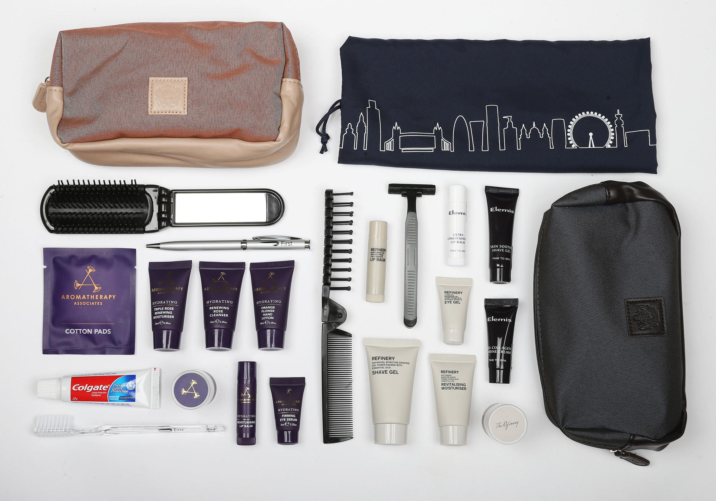 <p><strong>What do you get?</strong> First class men's kit: Foldable comb/brush, razor, toothbrush, toothpaste, pen, Refinery products – shave gel, moisturiser, eye gel, lip balm and deodorant stick.<br /> First class women's kit: Foldable comb with a mirror, cotton pads, pen, toothbrush, toothpaste, Aromatherapy Associates products – rose cleanser and moisturiser, eye serum, orange flower hand lotion, a lip balm and deodorant stick.<br /> Club world women's kit: In an attractive drawstring bag that could easily be a laundry bag later on, BA has put together an attractive kit with Elemis cosmetics (facial wipe, moisturiser, hand and nail cream and lip balm), toothbrush, toothpaste, socks, pen<br /> Club world men's kit: Toothbrush, toothpaste, pen, socks, Elemis skincare products (shave gel, moisturiser and lip balm)<br /> <strong>Best bit of the kit?</strong> The skincare products. But we're fond of the bags too.</p>