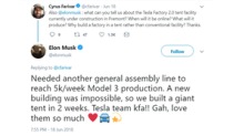 Here's How Musk Justified Building Cars in a Giant Tent