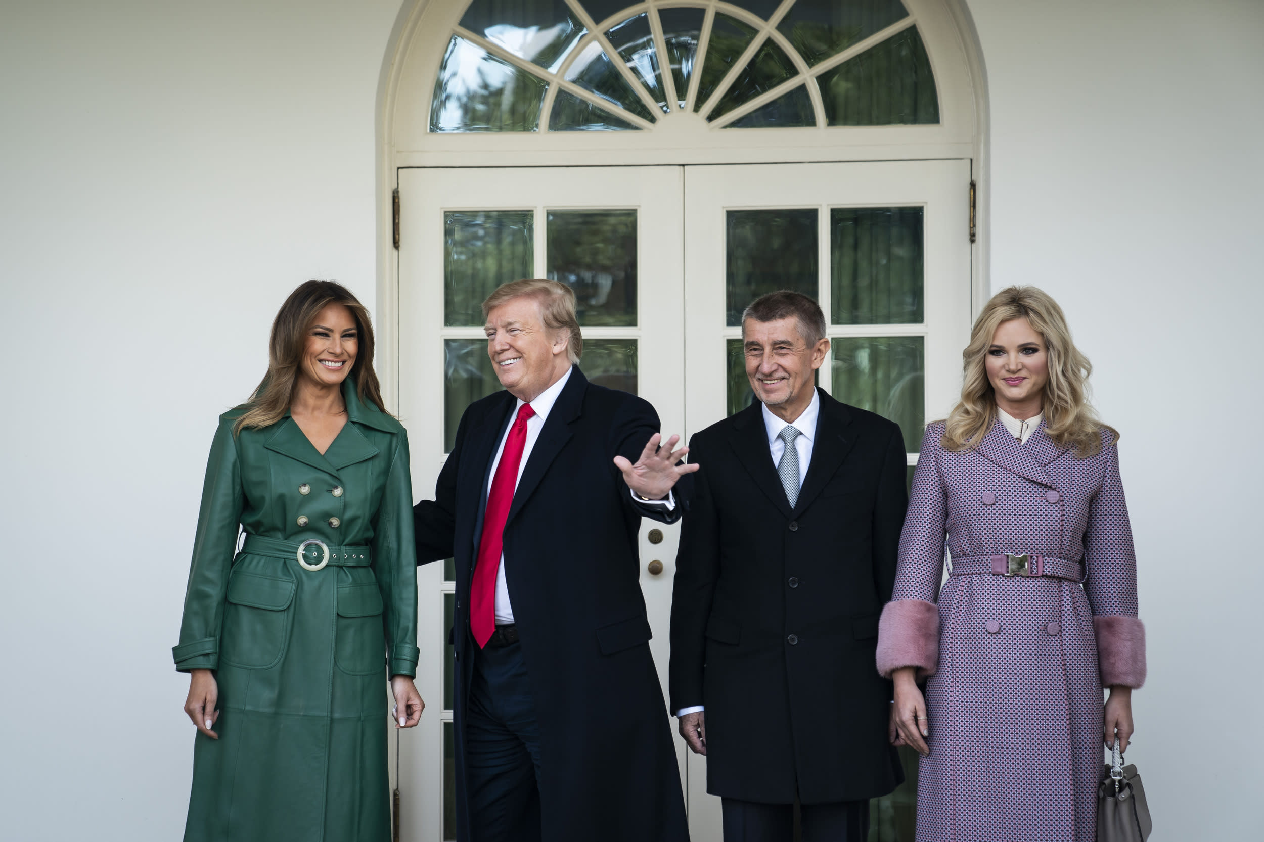 WASHINGTON, DC - MARCH 7 : President Donald J. Trump and First Lady Melania Trump welcome Prime Minister Andrej Babis and Mrs. Monika Babisova of the Czech Republic outside the Oval Office at the White House on Thursday, March 07, 2019 in Washington, DC. (Photo by Jabin Botsford/The Washington Post via Getty Images)