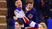 Crazed N.Y. Rangers Superfan Ansel Elgort Nearly Bites It at Game