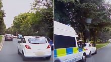 Karma police - Cop's thumbs up after pulling over dangerous driver