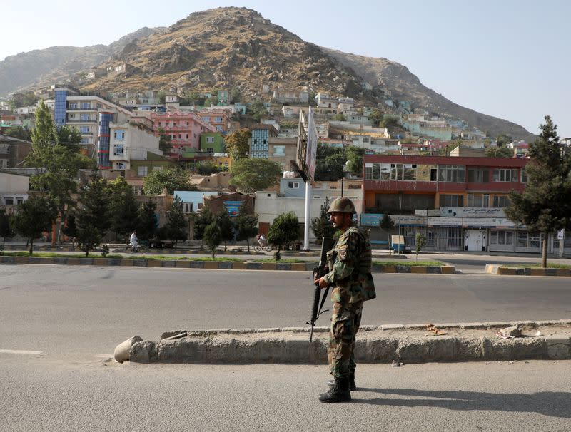 An Afghan National Army (ANA) soldier keeps watch at the area where the Loya Jirga holding in Kabul, Afghanistan