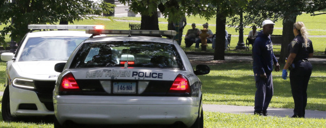 Police investigate overdoses at New Haven Green. (AP)