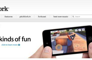 Pitchfork gets a custom iPod touch page-topper ad