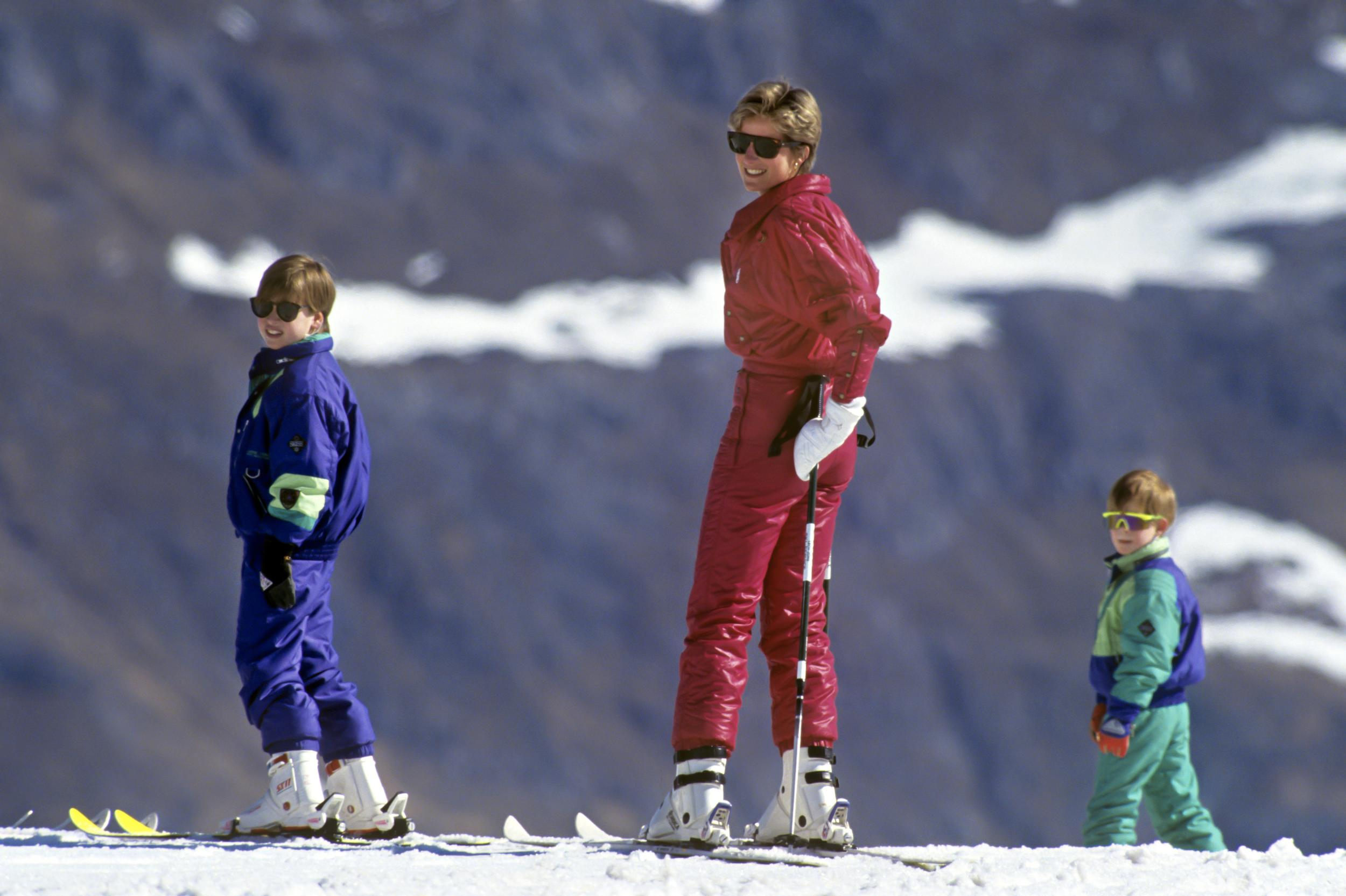 Diana Princess Of Wales, Prince William, And Prince Harry, Skiing In Lech, Austria. (Photo by Julian Parker/UK Press via Getty Images)
