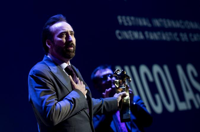 SITGES, SPAIN - OCTOBER 06: Nicholas Cage receives the Honorific Award at Sitges Film Festival on October on October 6, 2018 in Sitges, Spain. (Photo by Samuel de Roman/Getty Images)