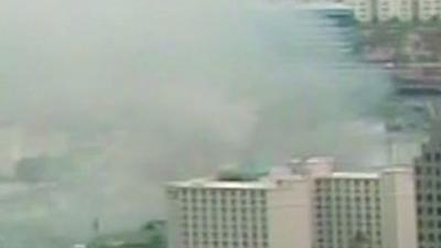 Raw: Key Largo Casino in Flames on Vegas Strip