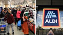 'People don't care anymore': Outrage over photo of queuing Aldi customers
