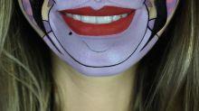 Prepare-se para se divertir com os personagens que esta maquiadora desenha em sua boca