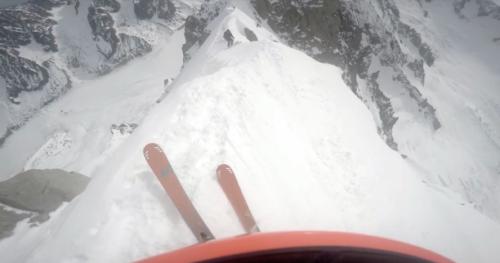 Ski - Vivez la descente à skis de l'étroite arête de l'Aiguille Verte