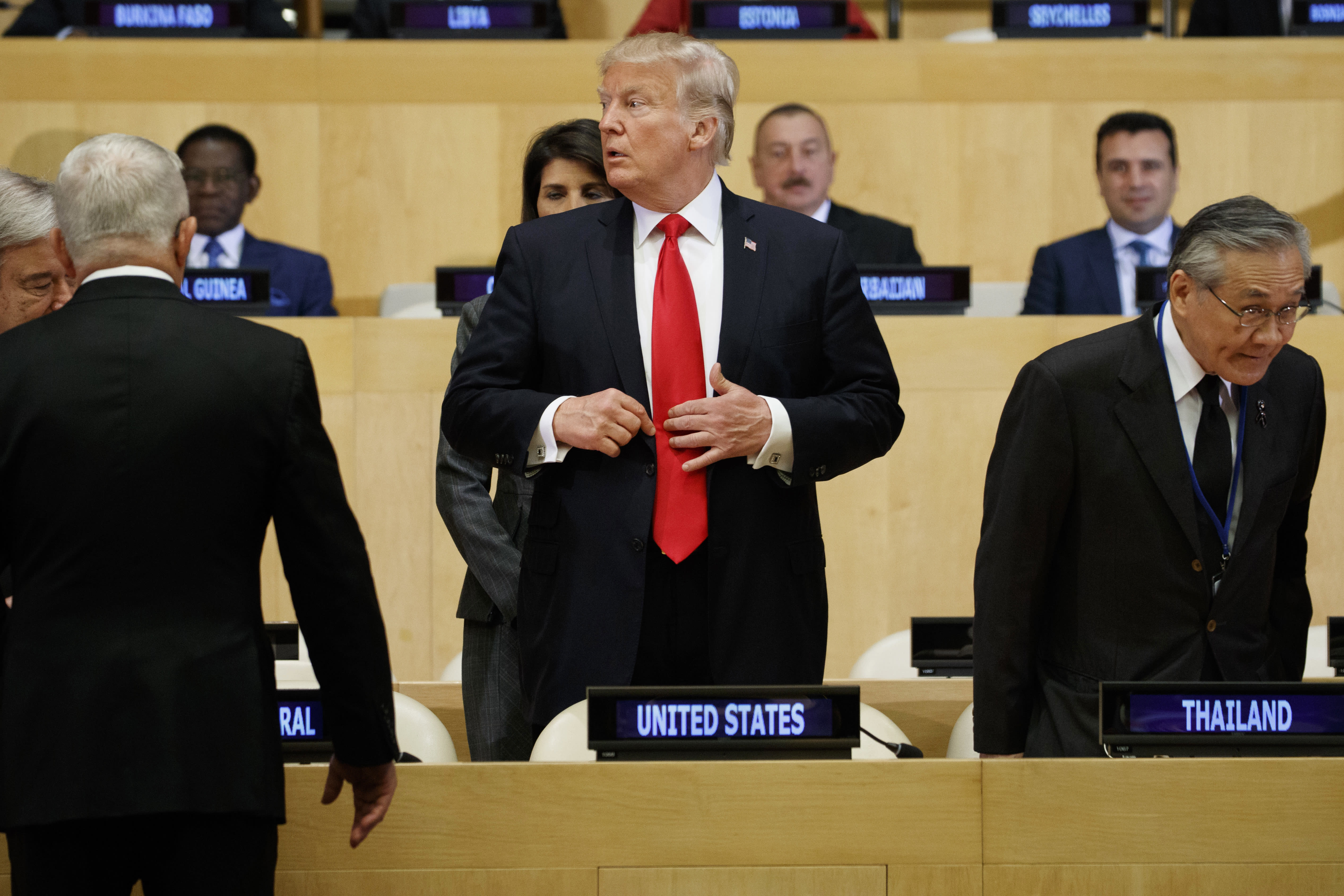 """<p>President Donald Trump arrives for the """"Reforming the United Nations: Management, Security, and Development"""" meeting during the United Nations General Assembly, Monday, Sept. 18, 2017, in New York. (Photo: Evan Vucci/AP) </p>"""