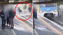 Terrifying footage shows kids sprinting in front of Melbourne trains