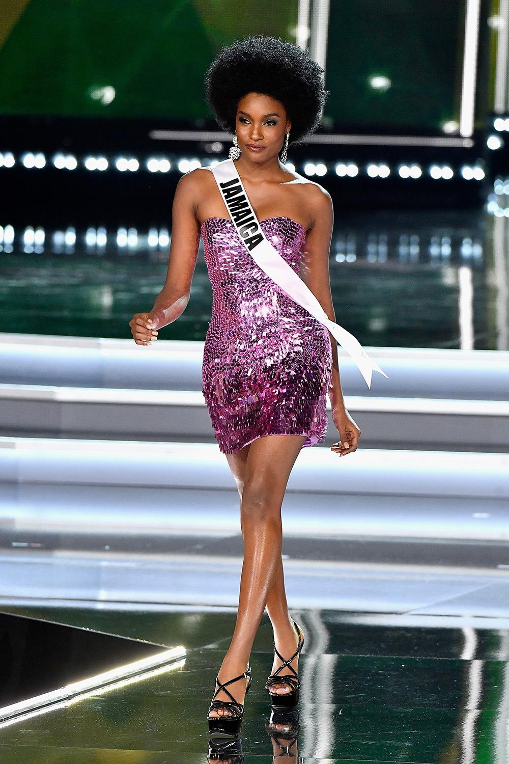 b5bf18714a Miss Jamaica 2017, Davina Bennett, competes during the 2017 Miss Universe  Pageant at The Axis at Planet Hollywood Resort & Casino on Nov.