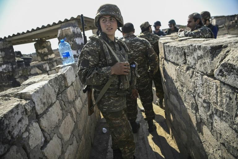 Armenian soldiers on the front line on Sunday