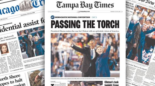 How newspapers covered the third day of the DNC