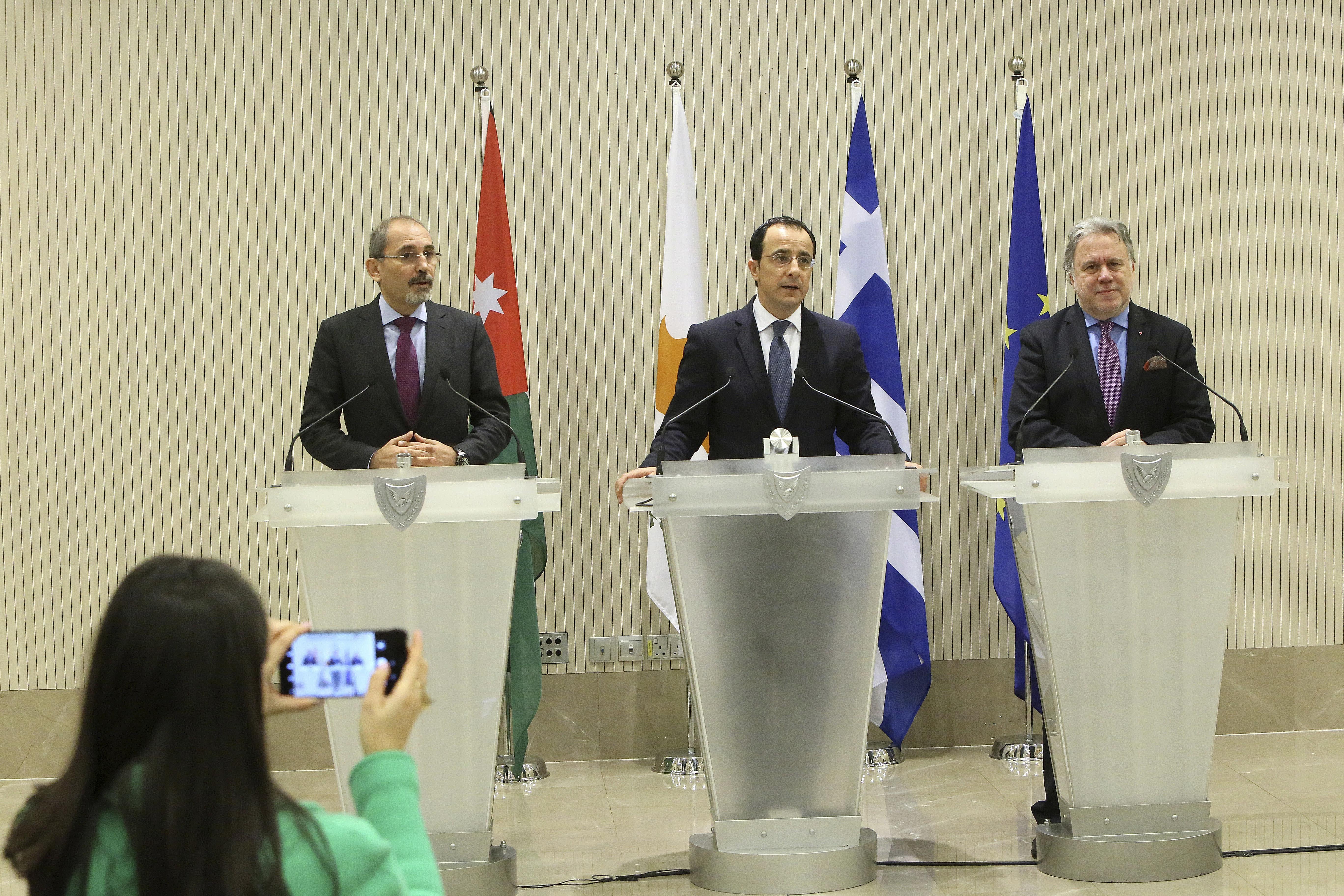 Cyprus, Greece, Jordan look to enhance trade, security ties