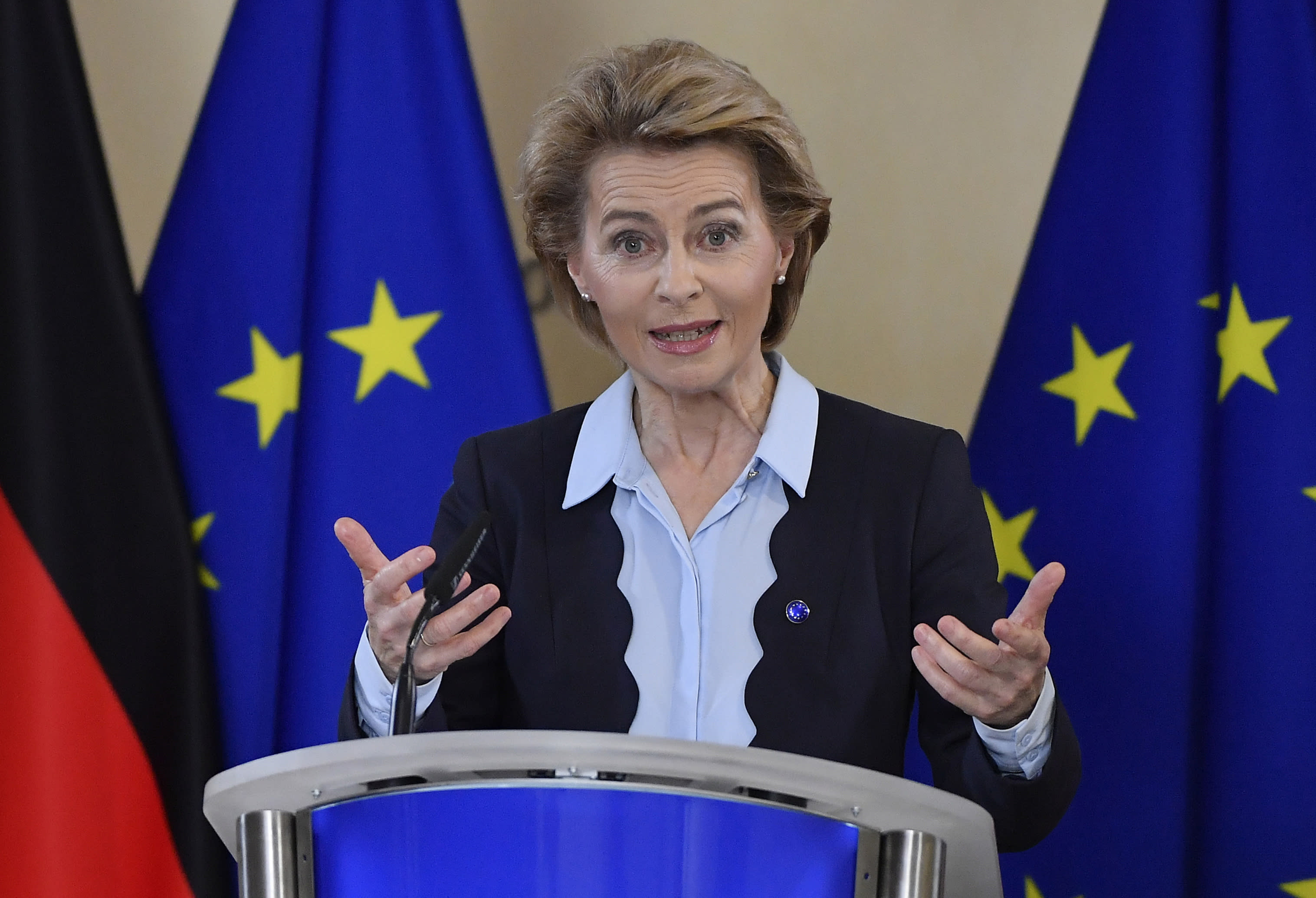 President of the European Commission Ursula von der Leyen addresses a joint press conference with German Chancellor Angela Merkel, attending by video conference, on the start of the six month German Presidency of the EU at EU Headquarters in Brussels, Thursday, July 2, 2020. (John Thys, Pool Photo via AP)