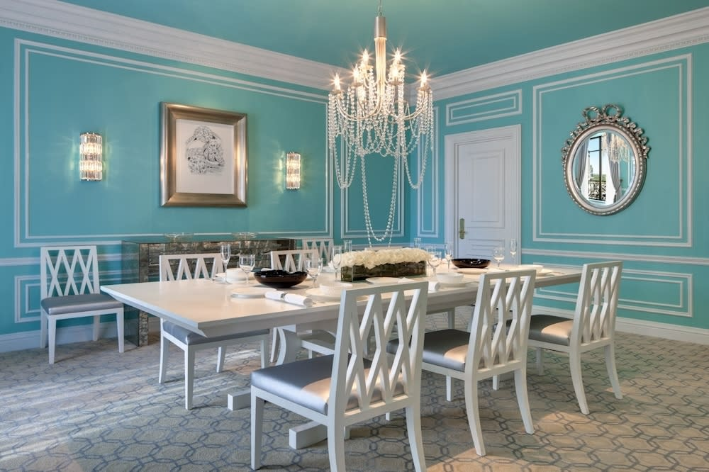 """<p>Legendary brands St. Regis Hotels and Tiffany & Co. have come together to create the glistening <a href=""""http://www.stregisnewyork.com/rooms/tiffany-suite"""" target=""""_blank"""">Tiffany Suite</a> at The St. Regis New York. Located on the 14th floor, the glistening suite is whimsical and luxurious, reflecting Tiffany's modern aesthetic and contemporary vision. Some of the most stunning elements include jewel-inspired furnishings, the signature Tiffany Blue and jewel-shaped mirrors. From $10,500 (£7,760) per night.</p>"""