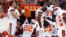 Large group of Browns players take a knee during national anthem