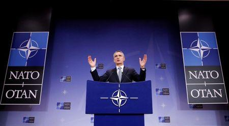 NATO Secretary-General Stoltenberg addresses a news conference during a NATO defence ministers meeting in Brussels