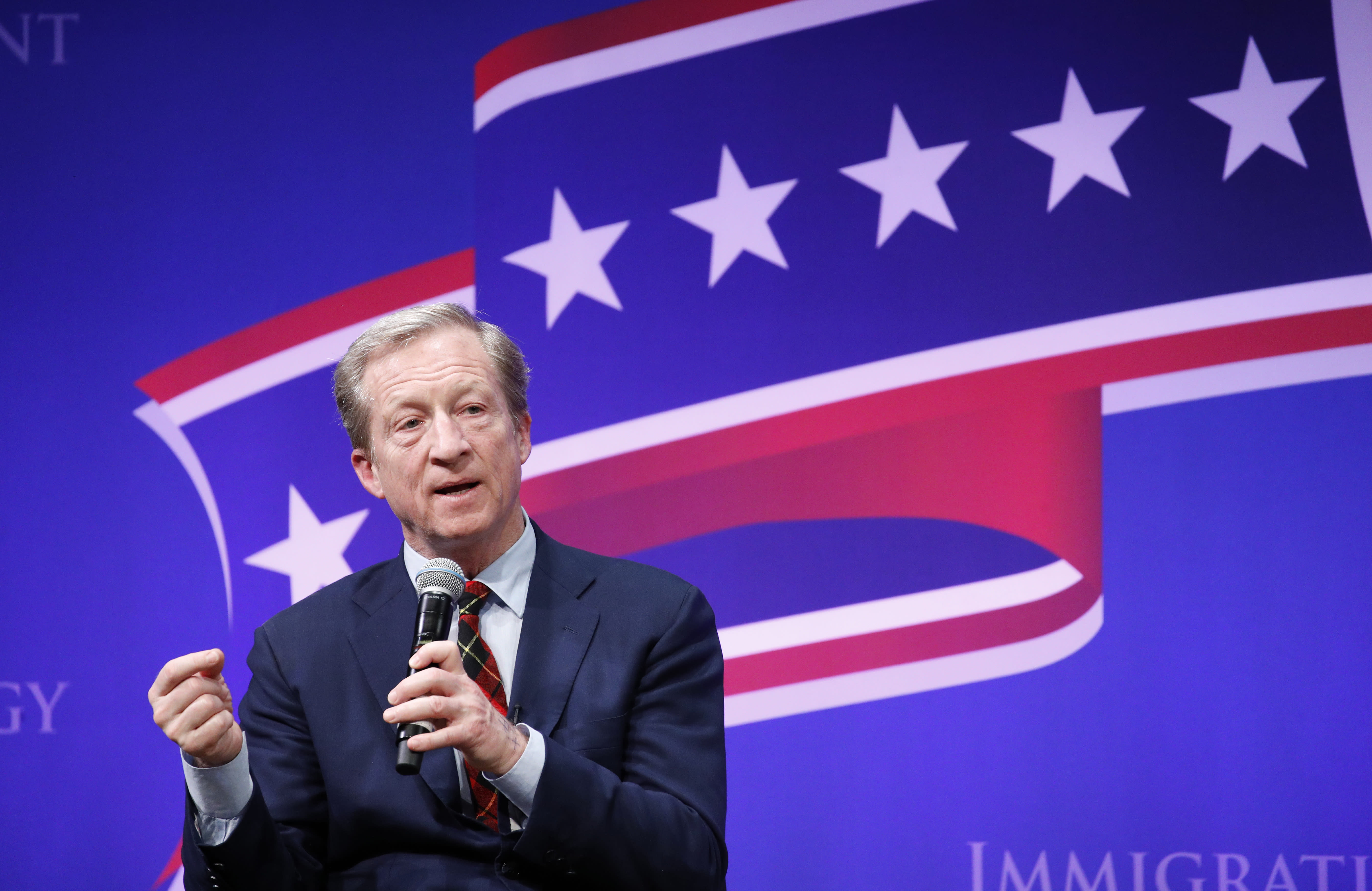 Democratic presidential candidate businessman Tom Steyer speaks at the LULAC Presidential Town Hall, Thursday, Feb. 13, 2020, in Las Vegas. (AP Photo/John Locher)