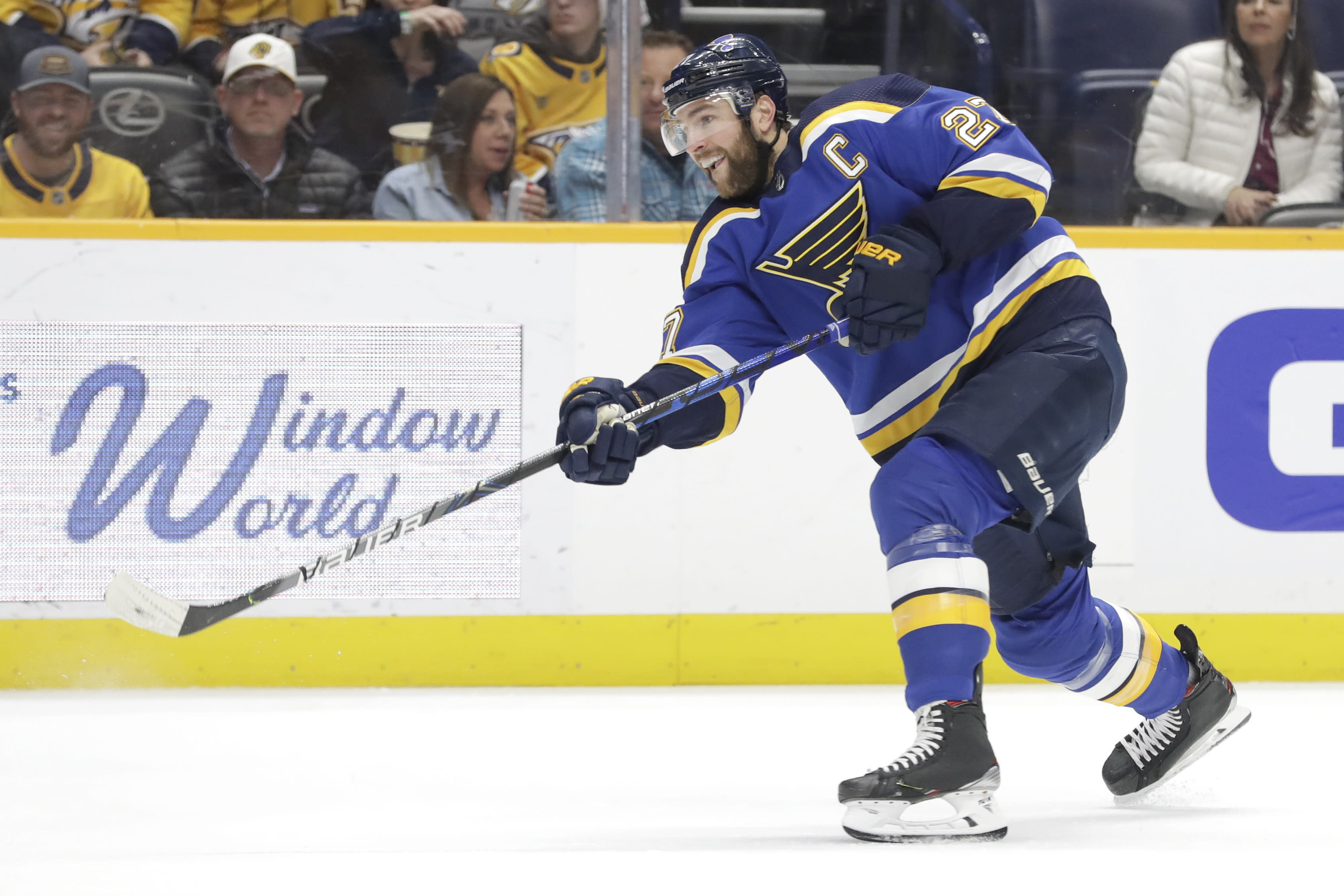 FILE - In this Feb. 16, 2020, file photo, St. Louis Blues defenseman Alex Pietrangelo plays against the Nashville Predators in the first period of an NHL hockey game in Nashville, Tenn. The Vegas Golden Knights have agreed to terms on a $61.6 million, seven-year contract with top free agent Pietrangelo, a person with direct knowledge of the move tells The Associated Press. (AP Photo/Mark Humphrey, File)
