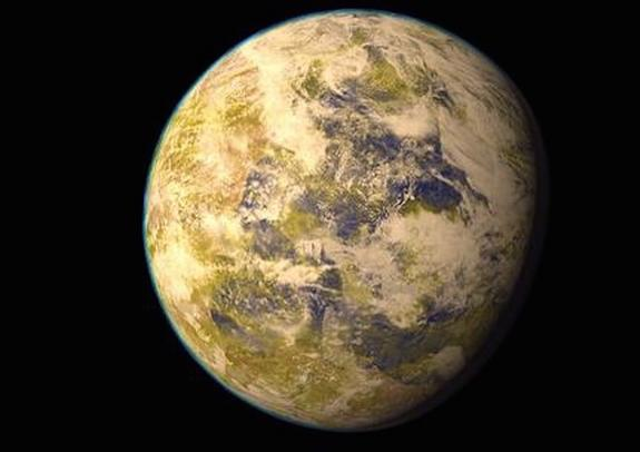 An artistic representation of the exoplanet Gliese 832c as compared with Earth. The large planet may be Earth-like, or it could have a dense atmosphere and a closer relationship to Venus.