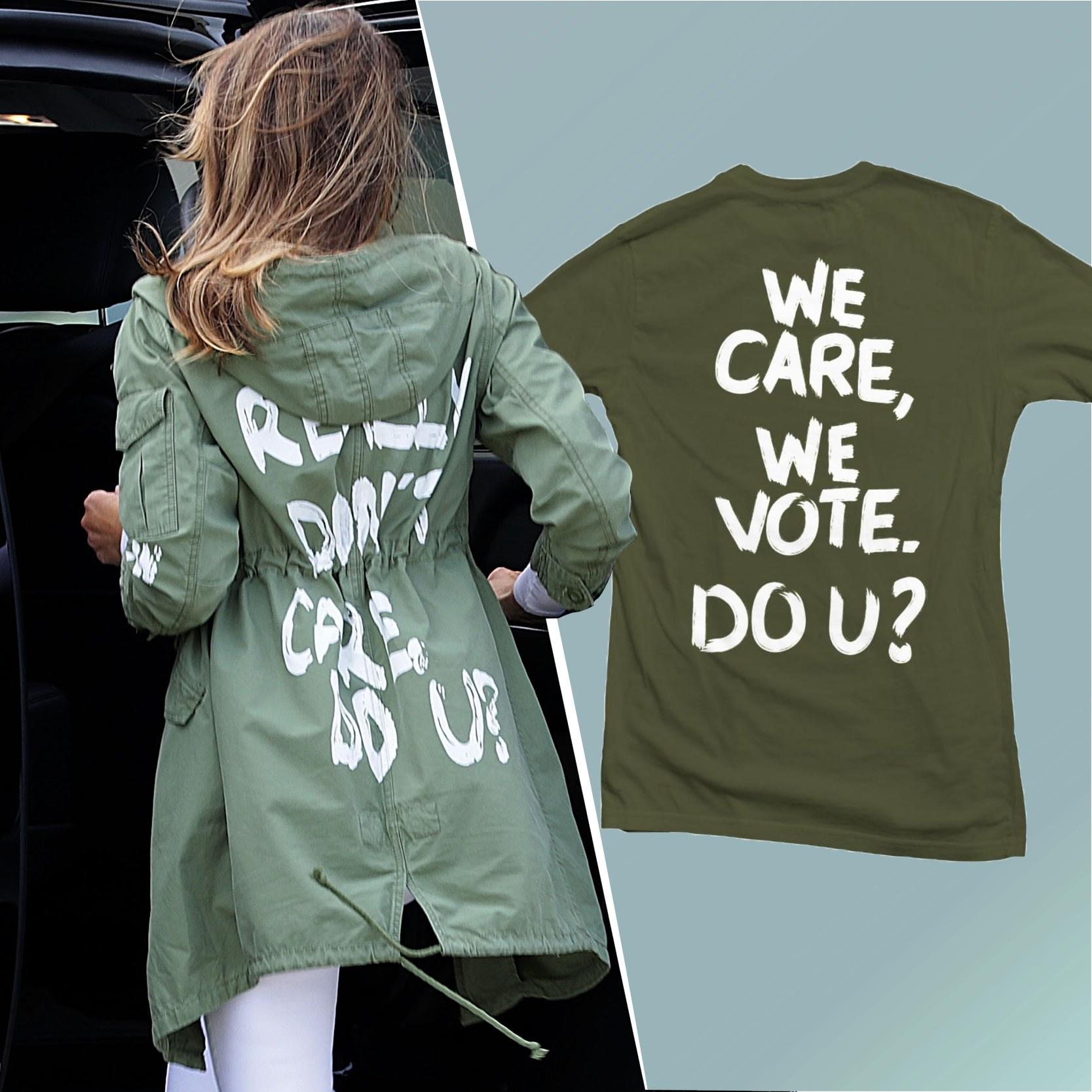 3bb29ff8 How Melania Trump's Jacket Inadvertently Raised Money for Democrats