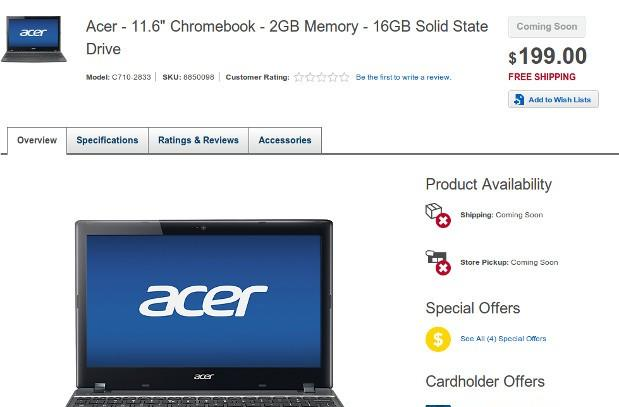 Acer C7 Chromebook getting 16GB SSD option, keeping $199 price tag