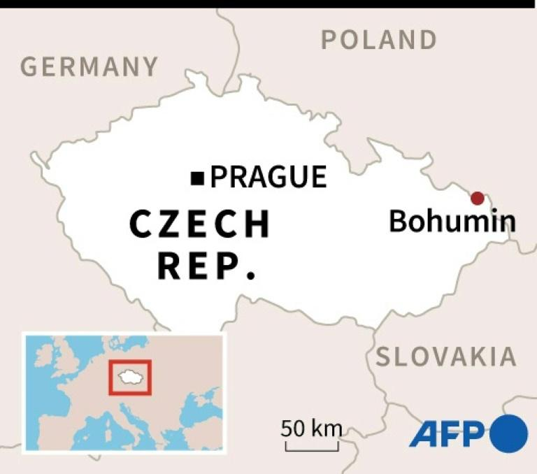 Map of the Czech Republic locating Bohumin