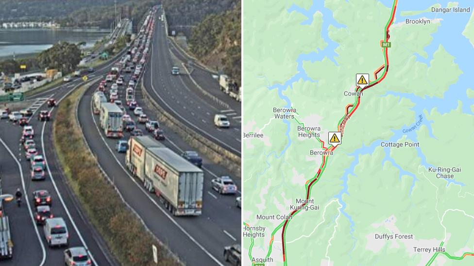 Commuter chaos in Sydney after road worker hit on the M1
