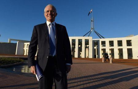 Australian Prime Minister Malcolm Turnbull stands outside Australia's Parliament House in Canberra May 4, 2016 following the announcement Australia's 2016-17 Federal Budget