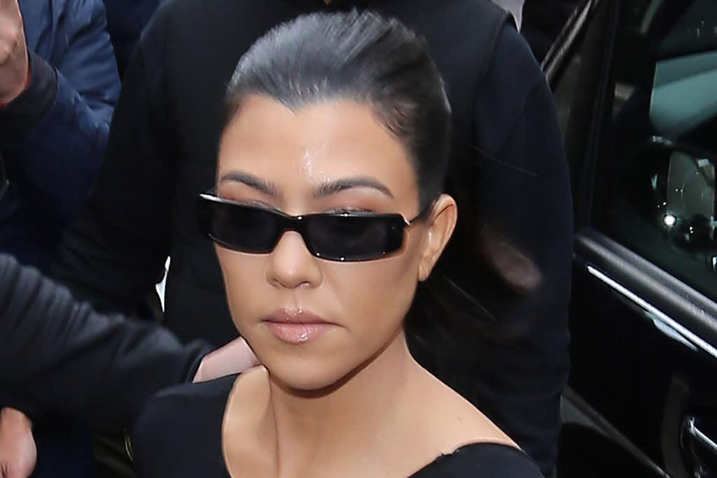 Kourtney Kardashian's Twisted Peek-a-Boo Dress & Platform Disco Sandals Are Made for a Night Out - Yahoo Lifestyle